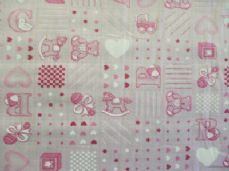 Rocking Horse Print Polycotton Fabric in Pink